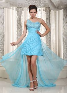 Single Shoulder High-low Aqua Blue Beaded Dresses For Military Ball