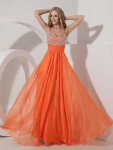 Zipper-up Orange Beaded Long Military Ball Formal Dress with Straps