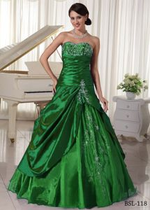 Sweetheart Dark Green Beaded Long Formal Dresses with Appliques