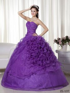 Lace-up Ruched Dresses For Military Ball with Ruffle-layers in Purple