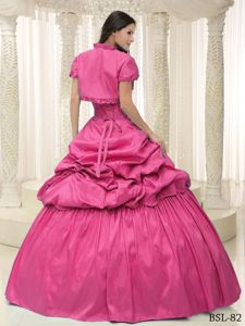 Sweetheart Hot Pink Long Formal Dress with Appliques and Pick-ups