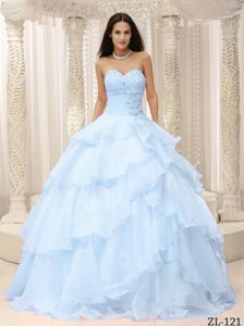 Lace-up Light Blue Long Military Ball Gown with Layers and Flowers