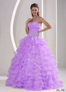New Sweetheart Lavender Long Gown For Military Ball with Ruffles