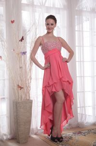 Watermelon Red High-low Beaded Military Ball Dresses with Straps