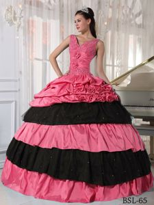 V-neck Watermelon and Black Gowns For Military Ball with Flowers