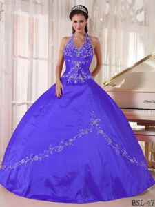 Halter Purple Floor-length Beaded Military Ball Dress with Appliques