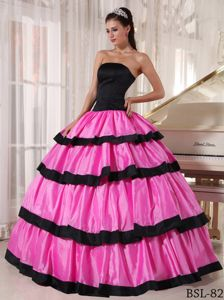 Lace-up Rose Pink and Black Long Formal Dresses For Military Ball