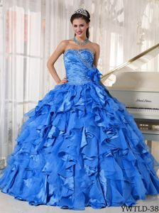 Sweetheart Blue Long Military Ball Dresses with Flowers and Layers