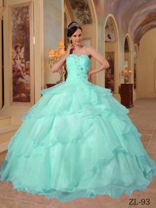 Sweetheart Aqua Blue Long Formal Dresses with Flowers and Layers