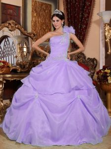One Shoulder Lilac Long Beaded Military Ball Gowns with Appliques