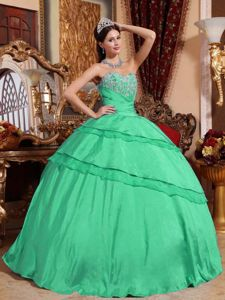 Gorgeous Sweetheart Green Long Military Ball Gowns with Appliques