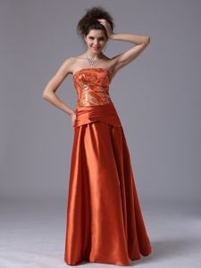 Strapless Long Beaded Evening Dresses For Military Ball in Rust Red