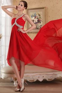 High-low Single Shoulder Red Ruched Formal Gown For Military Ball