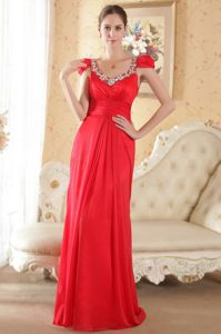 Cap Sleeves Scoop Red Brush Train Red Military Ball Formal Dress