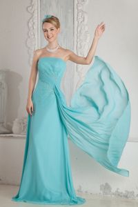 Strapless Zipper-up Brush Train Military Ball Gown in Aqua Blue