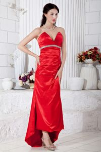 Popular High-Low Red Military Ball Attires with Beaded Waist