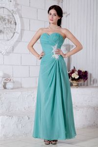 Clearance Ruched Appliqued Turquoise Long Military Ball Gown