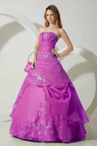 Luxurious Embroidery Strapless Light Purple Military Ball Attire