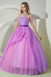 Perfect Puffy Organza Strapless Military Ball Gown in Lavender