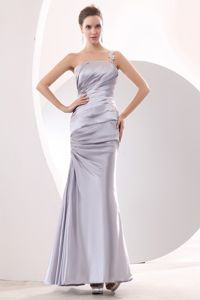Plus Size One Shoulder Ruched Silver Formal Military Ball Gown