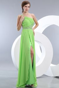 Spring Green Slitted Beaded Military Ball Dress with Cool Back