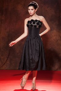 2013 Tea-length Strapless Black Military Ball Gown with Flowers
