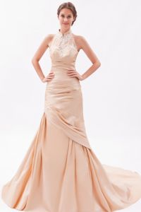 High-Neck Appliqued Champagne Military Ball Formal Dresses