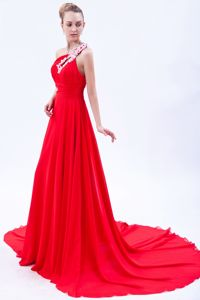 Court Train One Shoulder Appliqued Red Military Ball Dress 2013