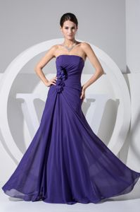 New Purple Military Ball Formal Gown with Floral Embellishment