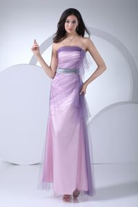 New Style Baby Pink Strapless Ankle-length Military Ball Gown