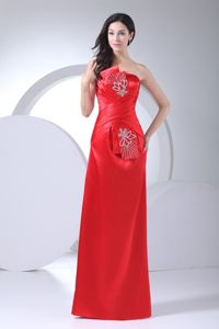 Low Price Taffeta Lace-up Red Long Military Ball Dress with Bow