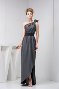 One Shoulder Gray Military Ball Attire with Asymmetrical Hem