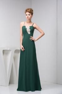 on Sale Spaghetti Straps Appliqued Dark Green Military Ball Dress