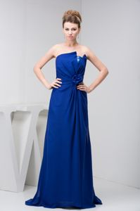 Loose Style Chiffon Sequin Royal Blue Gowns for Military Ball
