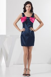 Scoop Neck Mini Navy Blue Military Ball Gown with Bowknot