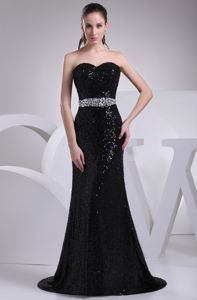 Shimmery Sequins Mermaid Brush Train Black Military Ball Attire