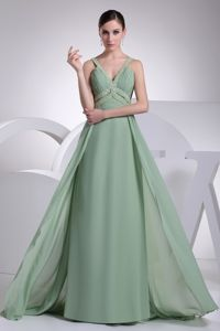 Cheap Chiffon Apple Green Military Ball Dress with Beaded Straps
