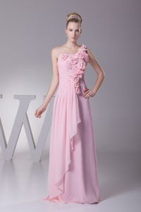 One Shoulder Flowers Baby Pink Evening Gowns for Military Ball