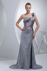 Glitz Brush Train One Shoulder Slitted Silver Military Ball Attire
