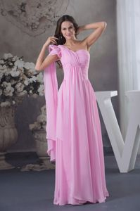 New One Shoulder Ruched Pink Military Ball Gown Watteau Train