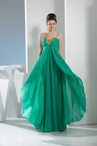 Green Military Ball Gowns with Spaghetti Straps and Appliques