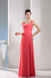 Girly Straps Watermelon Red Long Evening Military Ball Gowns