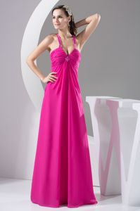 Crisscross Back Hot Pink Ruched Evening Gown for Military Ball