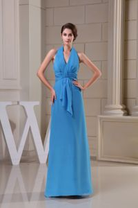 Affordable Halter Floor-length Blue Military Ball Gown with Flowers