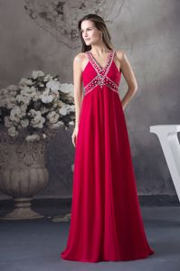 Cheap Beaded Red V-neck Long Military Ball Dress with Cool Back
