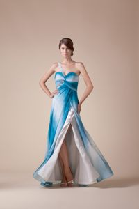 Ombre Blue White Gradient Slitted Military Ball Dress One Shoulder