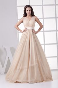 Dreamy Princess Champagne V-neck Military Ball Gown Dresses