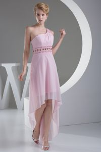 One Shoulder Rhinestones Baby Pink High-low Military Ball Dress