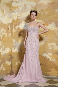 Chiffon One Shoulder Light Pink Military Ball Dress with Beading