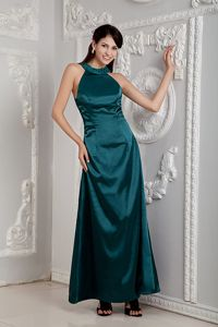 Satin Round Neck Dark Green Long Military Ball Gown on Sale
